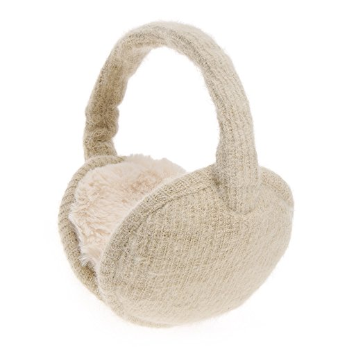 State Ear Warmer - ZLYC Womens Girls Winter Warm Adjustble Knitted Ear Warmers Foldable Earmuffs, Beige