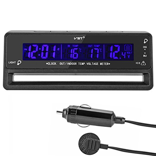ollgen multifunctional 4 in 1 car digital clock in out thermometer voltage monitor with stand. Black Bedroom Furniture Sets. Home Design Ideas