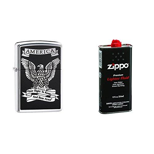 Zippo American Eagle Pocket Lighter, High Polish Chrome with