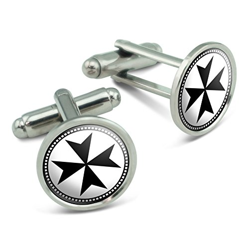 (Maltese Cross Men's Cufflinks Cuff Links Set)