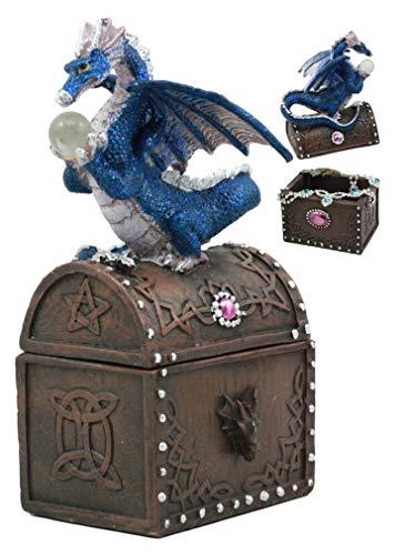 (Ky & Co YK Whimsical Pixie Blue Dragon Guarding Celtic Treasure Chest Figurine 6.5