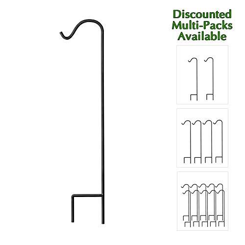 GrayBunny Shepherd Hook, 48 Inch Black 2/5 Inch Thick, Super Strong Rust Resistant Premium Metal Hook For Weddings, Hanging Plant Baskets, Solar Lights Lanterns Bird Feeders Mason Jars & Plant -