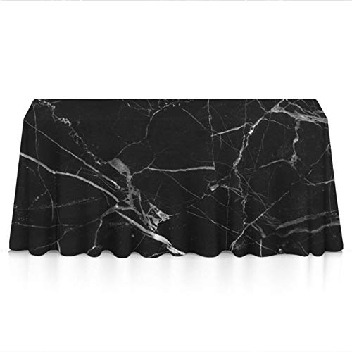 (Premium Table Cloths for Holiday Dinner, Catering Events, BBQ - Black Marble Texture Dust-Proof Stain Resistant Table Toppers Polyester Dinning Tabletop)