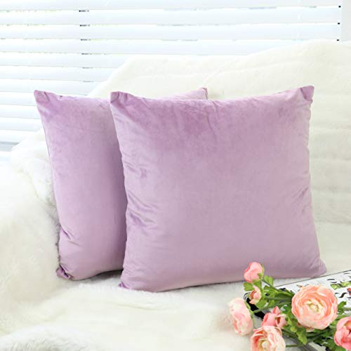 UNIHOME Pack of 2, Solid Velvet Decorative Square Throw Pillow Covers, Soft Cushion Cases for Home Couch Bedroom Car, NO Inserts (Pink Lavender, 2 pcs, 18'' x 18'') ()