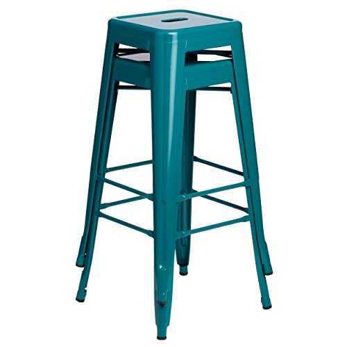 ModHaus Set of 2 Turquoise French Bistro Tolix Style Metal Bar Stools in Glossy Powder Coated Finish Includes ModHaus Living (TM) Pen