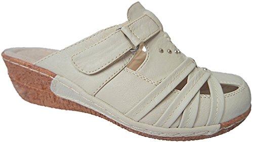 Clogs Damen Sabot Schuhe Sandalette Pantolette gr.36 - 41 art.nr.1253 beige
