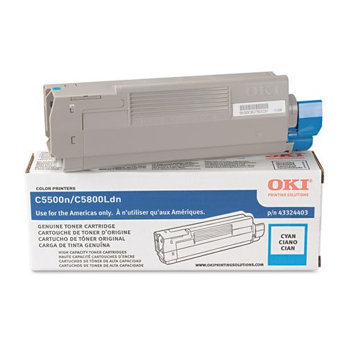 43324403 High Yield Toner (Oki® - 43324403 High-Yield Toner (Type C8), 5000 Page-Yield, Cyan - Sold As 1 Each - High-capacity cartridges.)