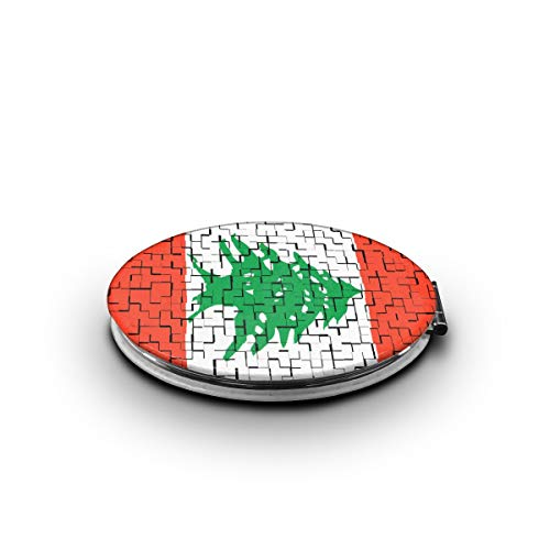 ZORITO Makeup Mirror, Lebanon Flag Puzzle Double-Sided Portable Folding Mirror Stainless Steel -