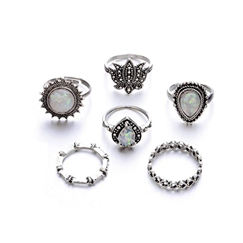 - Rings for Women,Caopixx Rings Set Natural Gemstone Fire Opal Crystal Ring Wedding Engagement Jewelry (Silver (6pcs), one size)
