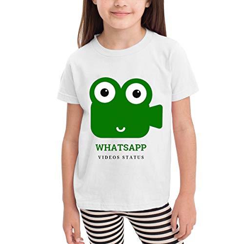 Zblin Whatsapp Videos Status Children's Girls Cute 2-6 Years 100% Cotton Short Sleeve T-Shirt White 5/6T