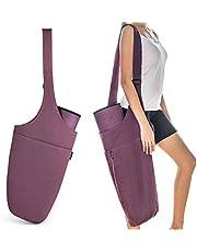 Gonex Bolsa para Esterilla de Yoga con 1 Bolsillo Grande Abierto y 1 Bolsillo Interior con Cierre, Correa Ajustable para el Hombro, Lona Lavada,