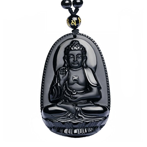 G&T Unisex Jewelry Hand Carved Natural Genuine Obsidian Buddha Pendant necklace(T6)