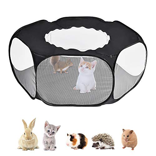 Lukovee Small Animal Playpen, 2020 New Foldable Pet Cage with Top Cover Anti Escape, Breathable Transparent Indoor/Outdoor Use Pop Up Yard Fence for Kitten, Puppy, Guinea Pig, Rabbits, Hamster