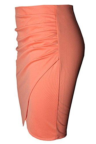 Jupe Mini Synthse Les Pliss Orange Femmes Bureau Crayon Irrgulire Jupe De 7CC6ZIq