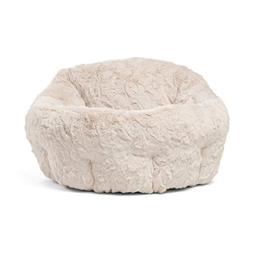 Best Friends by Sheri Deep Dish Cuddler in Lux Fur Dog Bed/Cat Bed, Oyster