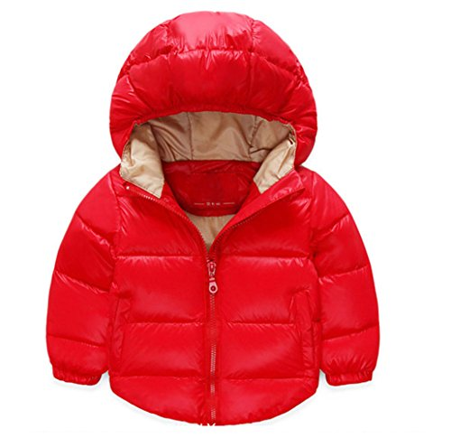 Taiycyxgan Baby Boys Girls Winter Puffer Coat Kids Thicken Down Jacket Outwear Red 120 by TAIYCYXGAN