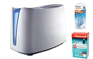 Honeywell HCM350W UV Germ Free Cool Moisture Humidifier and Honeywell HAC-504AW Humidifier Filter, and PC2V1 Humidifier Cleaning Cartridge Bundle