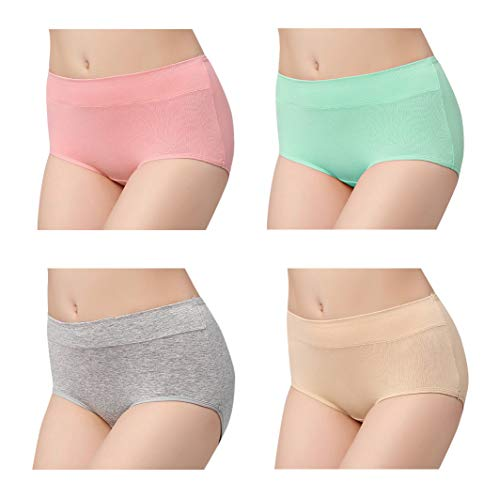 Female Briefs Underwear Sexy Seamless Soft Panties 4 Pack for Women Gray-Green-Skin-red Small