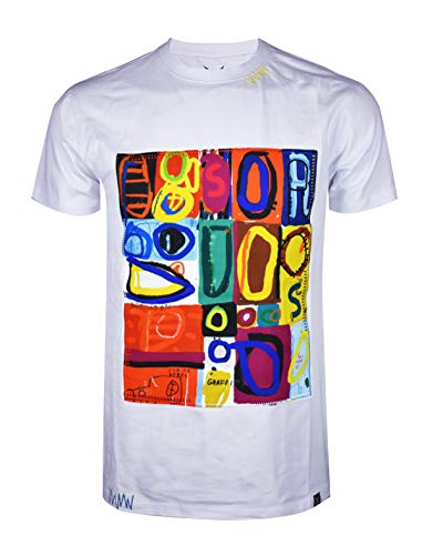 SCREENSHOTBRAND-S11911 Mens Hip-Hop Ultra Premium Tee Longline Street Art Graffiti Print T-Shirt-White-Large