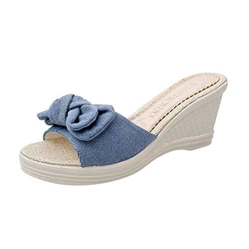 ♡QueenBB♡ Summer Shoes Ladies Bow Platform Waterproof Sandals Wedge Women Slippers Blue