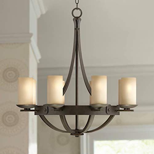 Sperry Bronze Chandelier Rustic Industrial Scavo Glass 28 Wide Fixture for Dining Room – Franklin Iron Works