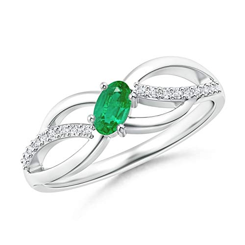 White Gold Aa Diamond Cross - Diagonal Oval Emerald Criss Cross Ring with Diamond Accents in 14K White Gold (5x3mm Emerald)