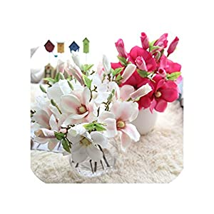 Almighty-shop Fake Flowers 2 Head Artificial Silk Single Magnolia Flower Arrangement Home Wedding Party Holiday Decorations 101