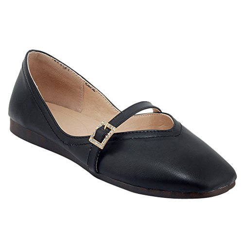 Show Shine Womens Instep Buckles Casual Flats Shoes Black t7VwjV4m