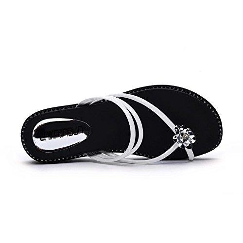 de Para White Moda Peep Mujeres Mujer Plataforma Sandalias Toe Zapatos Tacón Zapatos con JZTC de Zapatilla KJJDE Moda Chanclas Confort 6257 Chanclas Caminar BqORa
