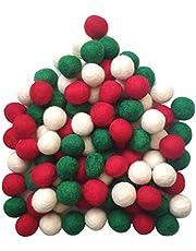 Gnognauq 90pc 2cm DIY Felted Pom Pom Garland Wool Balls Christmas Felt Balls(Red Green White )