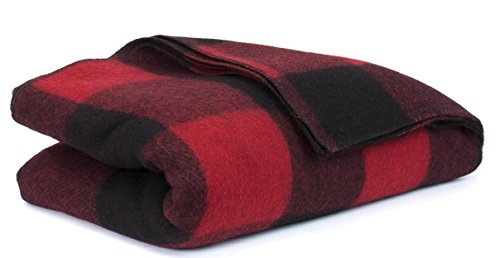 Bunkhouse Plaid Wool Blankets #NW-WBASBHP 80 x 62 Inches Twin Size - Machine Washable Red/Black Plaid (Plaid Blankets Wool)