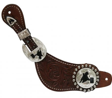 Barrel Racer Spurs (Showman Ladies Spur Straps Barrel Racing Conchos with Silver Studs Floral Tooled Leather (Dark Oil))