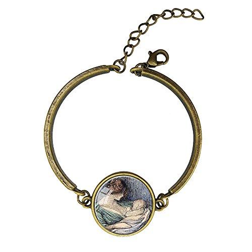 Adjustable Vintage Bronze Bracelets Brown Nursing Sage Copper Bangle Custom Glass Cabochon Charm Brace - Glass Sage Bronze
