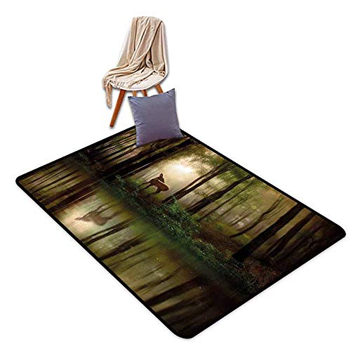 Children's Rug Nature Baby Deer in The Forest with Reflection on Lake Foggy Woodland Graphic Easy to Clean W59 xL71 Fern Green Cocoa Brown ()