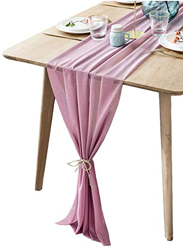 BOXAN Mauve Sheer Table Runne/Overlay Decorative Wrinkle Resistant for Romantic Wedding Party, Bridal & Baby Shower Table Decoration 30x120 Inch PaleVioletRed