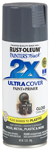 Medium Grey Satin - Rust-Oleum 249115-6 PK Painter's Touch 2X Ultra Cover, 12 oz, Dark Gray