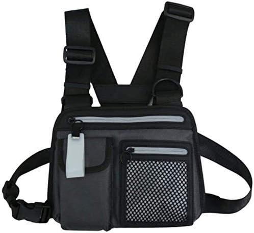 Cómodo y transpirable Chaleco reflectante de seguridad chaleco de nylon chaleco reflectante en el pecho del aparejo paquete de bolsa de la pistolera arnés walkie talkie paquete de la cintura Radio Con
