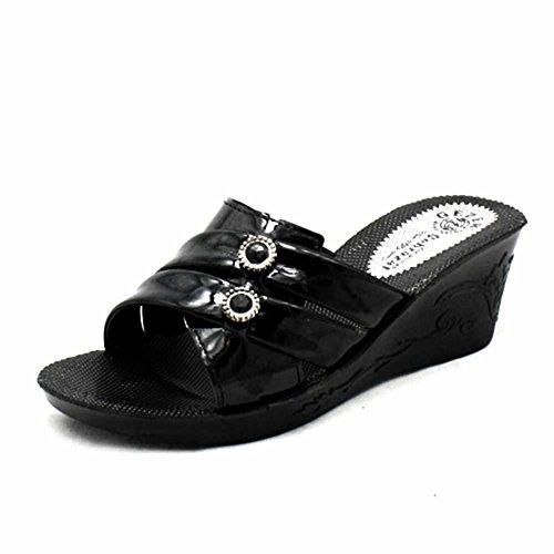 Sandales Mules à Black Femmes Womens Compensé Léger Talon qx156FwnC