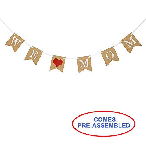 Partyprops Mothers Day Decorations - We Love Mom Banner Garland - Happy Mothers Day - Mothers Day Gift