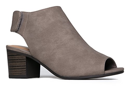 J. Adams Peep Toe Bootie - Low Stacked Heel - Open Toe Ankle Boot Cutout Velcro - Jimmy London Shop Choo
