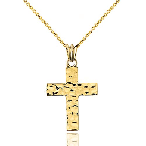 Modern Hammered Cross Charm Pendant Necklace (Small) in Solid 10k Yellow Gold, 20""