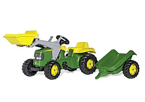 Rolly Toys 023110 - John Deere Tret-Traktor mit Frontschaufel und Anhänger