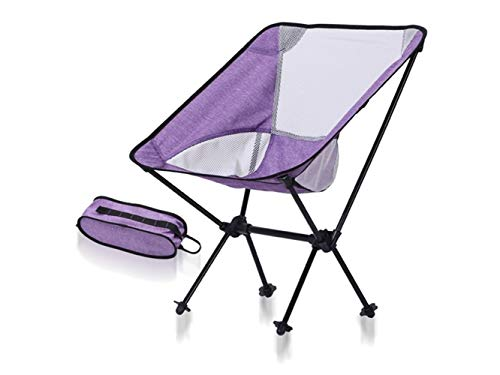 Pullic Portable Folding Fishing Chair Recliner Camping Chair for Outdoor and Fishing(Purple and White) by Pullic