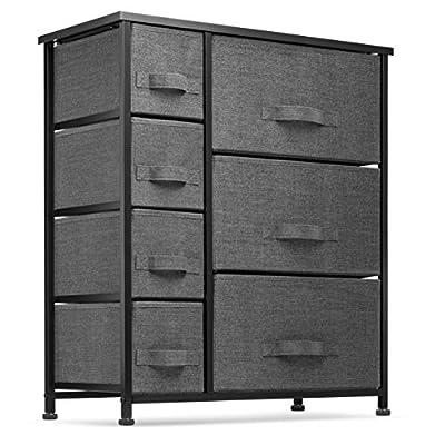 7 Drawers Dresser - Furniture Storage Tower Unit for Bedroom, Hallway, Closet, Office Organization - Steel Frame, Wood Top, Easy Pull Fabric Bins