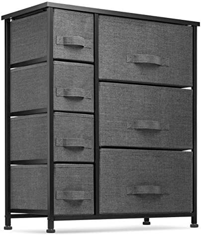 7 Drawers Dresser – Furniture Storage Tower Unit for Bedroom, Hallway, Closet, Office Organization – Steel Frame, Wood Top, Easy Pull Fabric Bins Black Charcoal