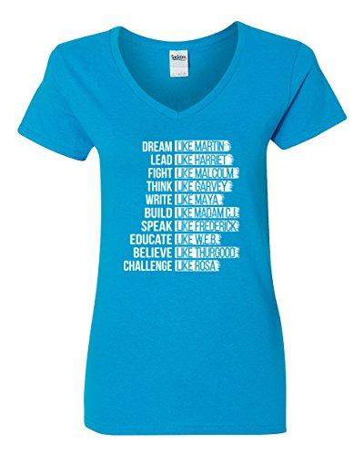 (Black Power History Panthers Exc Women's V-Neck T-Shirt (Light blue,XL))