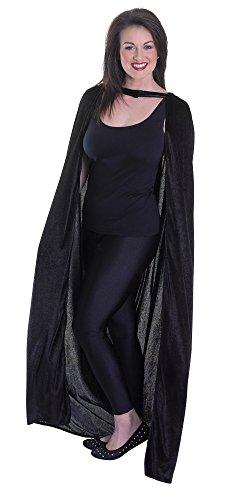 Bristol Novelty AC749 Velvet Black Hooded Cloak Adult Cape (One Size) ()
