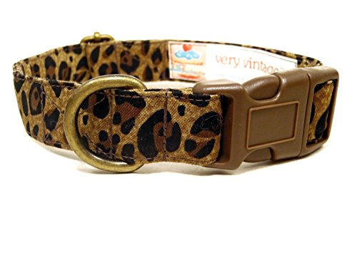Wild Thing – Brown Black Tan Cheetah Leopard Animal Print Organic Cotton Pet Collar – Handmade in the USA