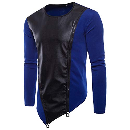 DressU Mens Long Sleeve Zipper Leather Patched Pullover High Low Hem Tracksuit Top Blue M