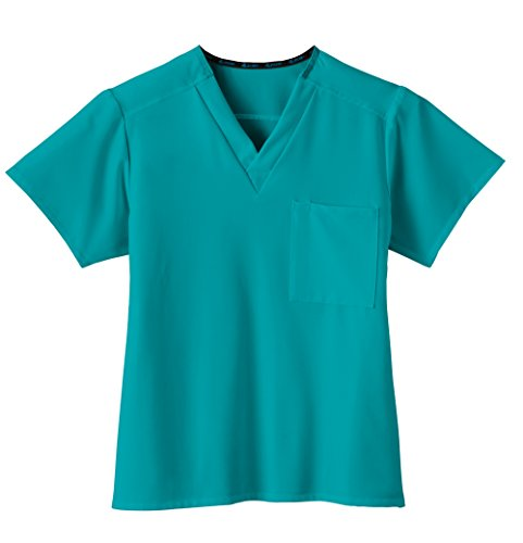 Classic Fit Collection by Jockey Unisex 1 Pocket Tri Blend Solid Scrub Top Medium Teal